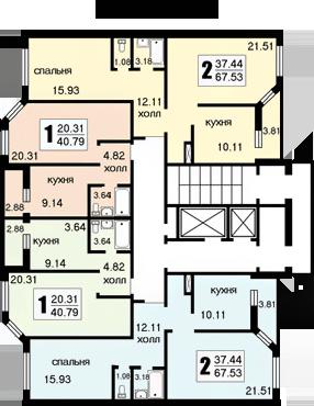 Планировки квартир секций А и Б