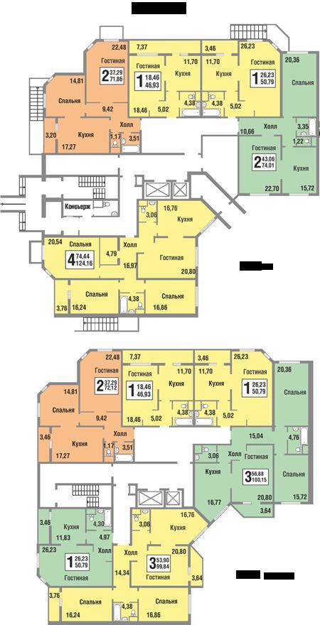 Планировки квартир 1 секции