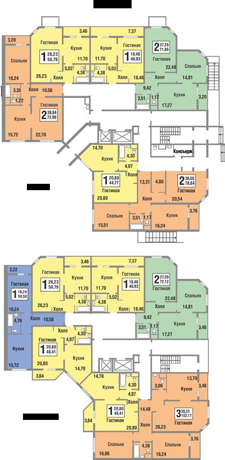 Планировки квартир 7 секции