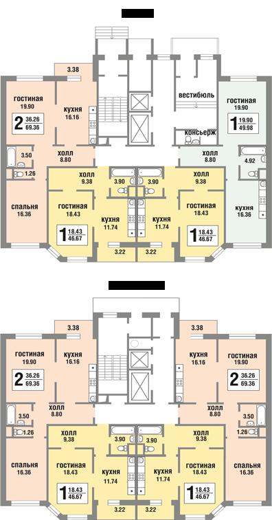 Планировки квартир 3 корпуса