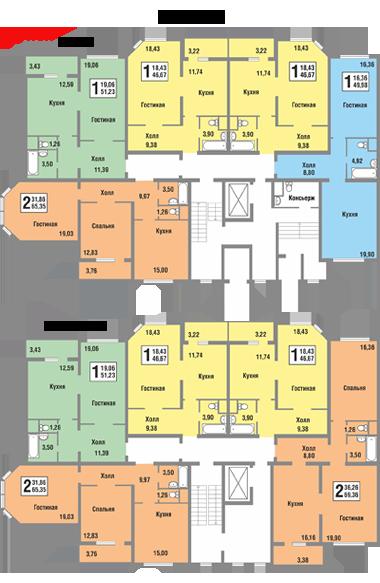 Планировки квартир секции А