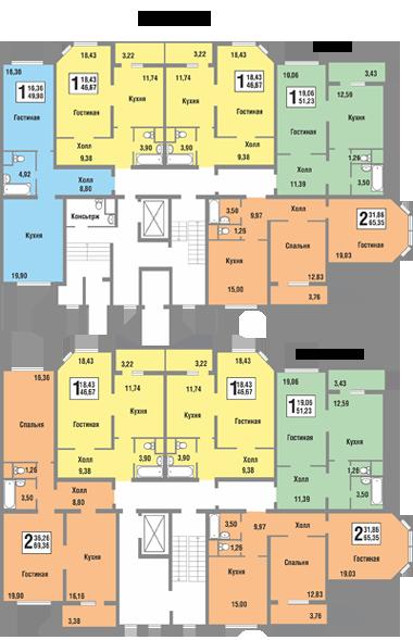 Планировки квартир секции Б