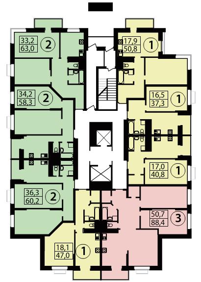 Планировки квартир 2 корпуса