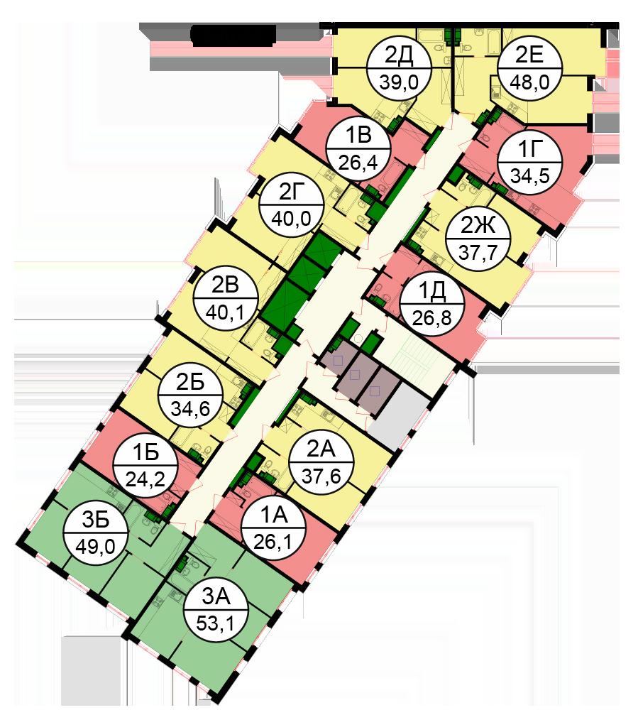 Планировки квартир первой секции