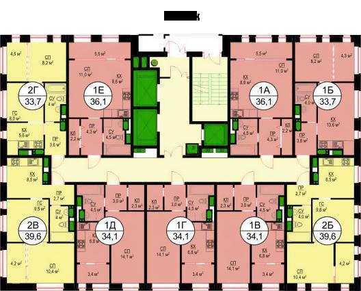 Планировки квартир 16 этажа