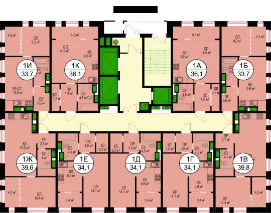 Планировки квартир 2 и 17 этажей