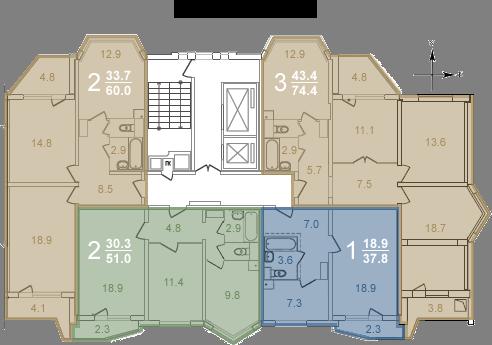 Планировки квартир секции 2 (2-8 этажи)