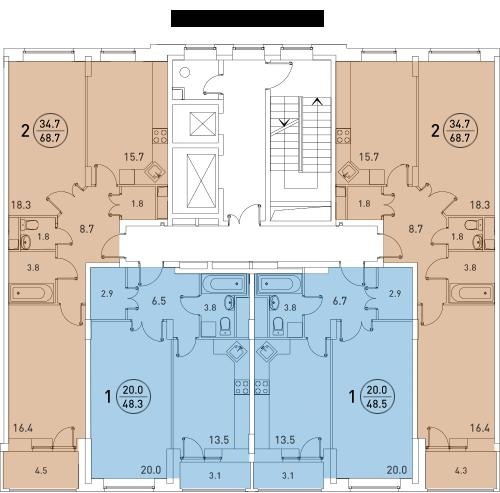 Планировки квартир 2 и 3 секций
