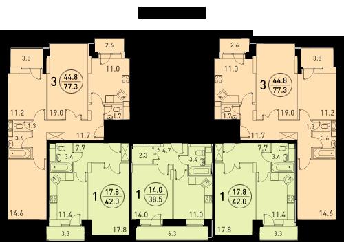 Планировки квартир 2 секции