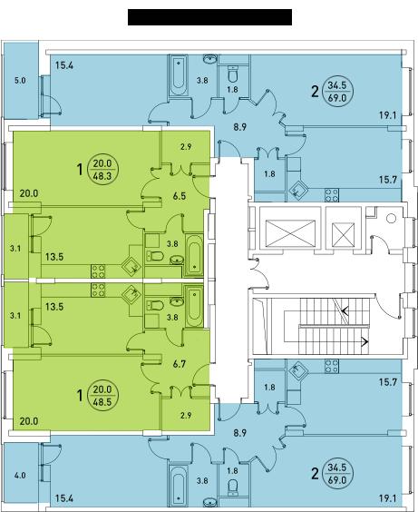 Планировки квартир 6 секции
